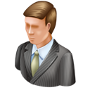 Man, business mac, user, Administrator Black icon