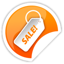 Orange, sticker, sale Black icon