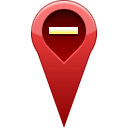 remove, pin, location DarkRed icon