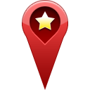 location, start, Favorite, pin, star DarkRed icon