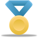 Blue, medal, gold, award, metal Black icon