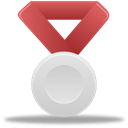 silver, metal, red Icon