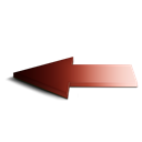 red, Arrow, Back, Left Black icon