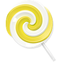 yellow, lollypop, Candy Black icon