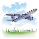 travel, airplane LightSkyBlue icon