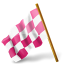 Left, mapmarker, pink, Chequeredflag Black icon