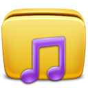 music, Folder Goldenrod icon