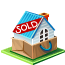 sold, house Black icon