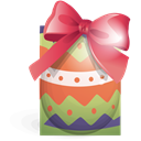 Ribbon, easter, green, egg Black icon
