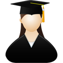 Graduate, Female, woman Black icon