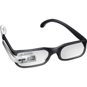 Glasses, googleglass, silver, google, cool Black icon
