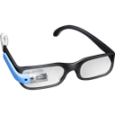 Guy, Blue, google, googleglass, Glasses Black icon