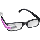 google, googleglass, pink, Glasses Black icon