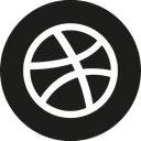Circle, dribbble Black icon