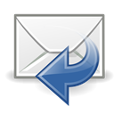 Sender, reply, mail Black icon