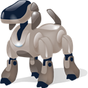 robot, dog, automatic machine, automaton, with, Shadow, Automatic, machine, machine gun Black icon