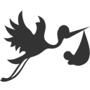 with, Bundle, Flying, Stork DarkSlateGray icon