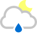 Cloud, Moon, raindrop Black icon