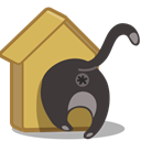 Cat, Birdhouse DarkSlateGray icon