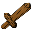 wooden, sword Black icon