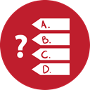 red, quiz, Games Firebrick icon