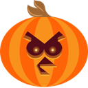 Angry, pumpkin, scary, spooky, jack-o-lantern, bird, halloween OrangeRed icon