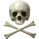 user, kill, Caution, Bone, halloween, Error, danger, Attention, death, Avatar, spooky, awful, Dead, deadly, Alert, skull, horror, scary, monster, Bones, exclamation, warning, monsters Black icon