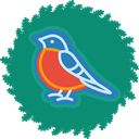 xmas, wreath, bird, christmas Teal icon