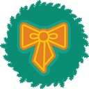 xmas, wreath, Bow, christmas Teal icon