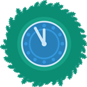 Clock, xmas, wreath, christmas Teal icon