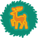 deer, christmas, wreath, xmas Teal icon