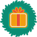 gift, xmas, wreath, christmas Teal icon