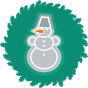 wreath, christmas, xmas, snowman Teal icon