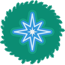 wreath, christmas, xmas, star, Holiday Teal icon