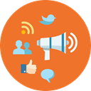 Rss, social media, network, Internet marketing, Comment, bullhorn, online marketing, marketing, Users, Connection, internet, speech bubble, Blogging, seo, Communication, advertising, News, web, megaphone Chocolate icon