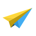 paper, Origami, Email, mail, messages, Message, airplane, Plane, Sparrow, Cloud, send Black icon