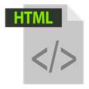 html, extention, html extention, adobe, file format Silver icon