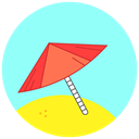 Umbrella, sand, Sunny, Beach, summer PaleTurquoise icon
