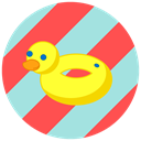 Beach, summer, vacation, pool, Duck PowderBlue icon