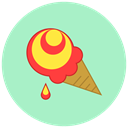 Dessert, sweet, food, summer, Ice cream PowderBlue icon