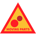 Cog, Attention, warning, moving parts Crimson icon