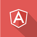 technologies, front-end, long shadow, Angular, web, web technology, Javascript IndianRed icon