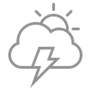 lightning, Cloud, sun Black icon
