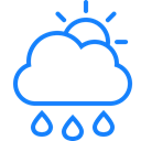 Raindrops, sun, Cloud Black icon