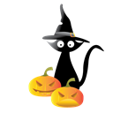 scary, hauted, Cat, halloween, pampkins Black icon