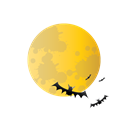 halloween, bat, scary, Moon Black icon