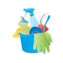 cleaning, Bucket, janitor, rubber gloves Black icon