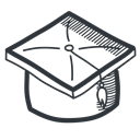 academy, Cap, learning, teach, school, student, university, education, knowledge, handdrawn, Academic, teaching, graduation, Graduate Black icon