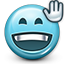 smiley, waving, smiley face, hello, Emoticon, greeting DarkSlateGray icon