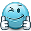 smiley, Emoticon, Like, wink, thumb, supportive, support, smiley face, thumbs up, liked SkyBlue icon